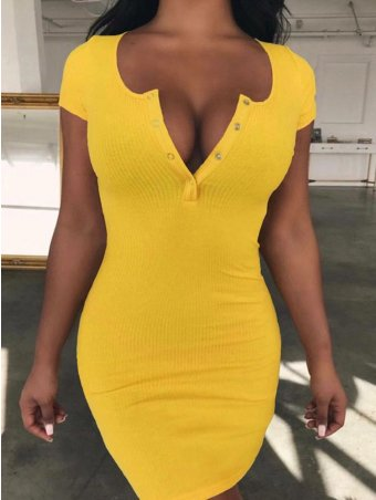 JurllyShe Button Front Short Sleeve Bodycon Dress-Yellow