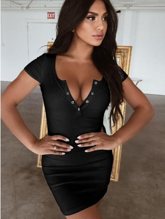 JurllyShe Button Front Short Sleeve Bodycon Dress
