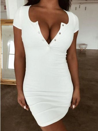 JurllyShe Button Front Short Sleeve Bodycon Dress-White