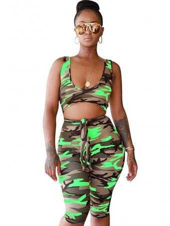 JurllyShe Camouflage Hollow Out Sleeveless Romper Shorts-Green