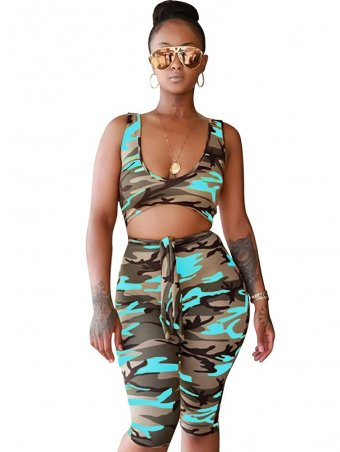 JurllyShe Camouflage Hollow Out Sleeveless Romper Shorts