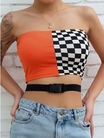 JurllyShe Checkerboard Patchwork Tube Top With Buckle Belt
