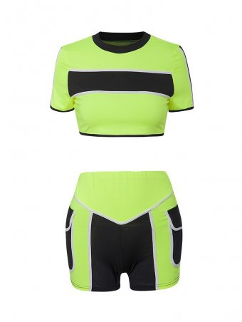 JurllyShe Color Block Crop Tee& Fitted Shorts Set