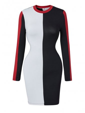 JurllyShe Color Block Long Sleeve Bodycon Dress