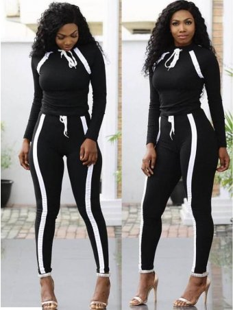 JurllyShe Contrast Color Knitting Top With Drawstring Pants Two Piece Sets