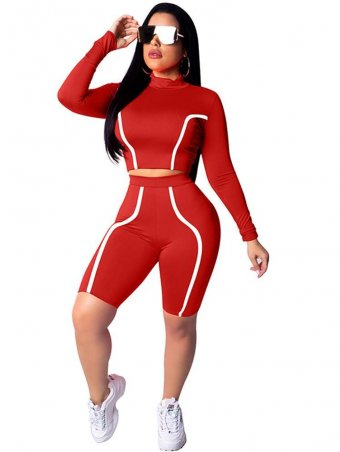 JurllyShe Contrast Piping Long Sleeve Sporty Tracksuits-Red