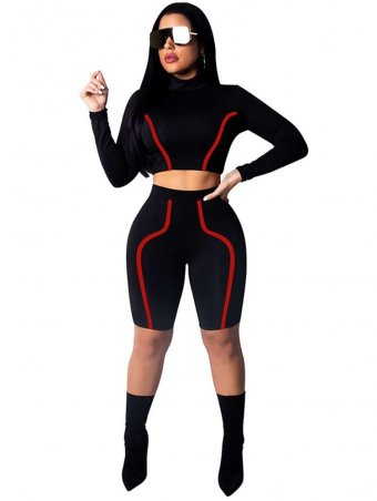 JurllyShe Contrast Piping Long Sleeve Sporty Tracksuits