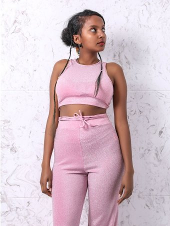 JurllyShe Crisscross Lurex Crop Top With Wide Leg Pants Set