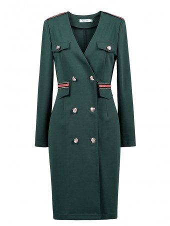 JurllyShe Double Breasted Plunging Coat