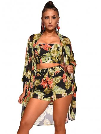 JurllyShe Floral Print Spaghetti Strap Top With Shorts Three Pieces Set