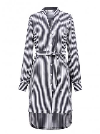 JurllyShe Front Buttoned Belted Striped Dress Striped Dress