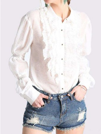 JurllyShe Lace Decorated See-through Blouse