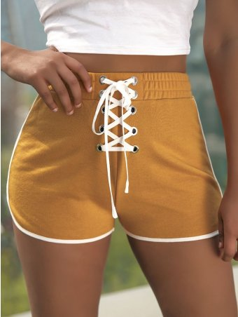 JurllyShe Lace Up Front High Waisted Shorts
