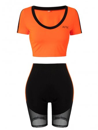 JurllyShe Letter Print Slim Top With Cycling Shorts Set