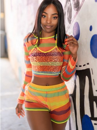 JurllyShe See-Through Neon Rainbow Striped Crop Top And Shorts