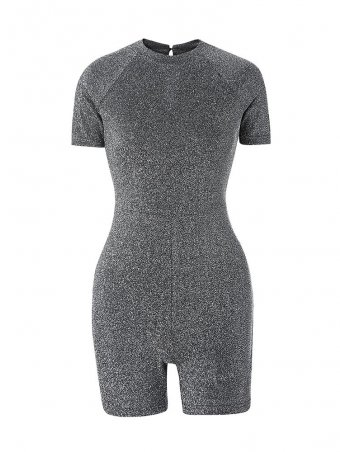 Jurllyshe Lurex Raglan Sleeve Jumpsuits And Rompers