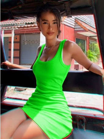 JurllyShe Neon Color Bodycon Mini Dress