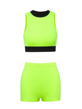 JurllyShe Neon Contrast Color Crop Top With Shorts Set