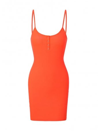 JurllyShe Neon Orange Color Spaghetti Strap Bodycon Dress
