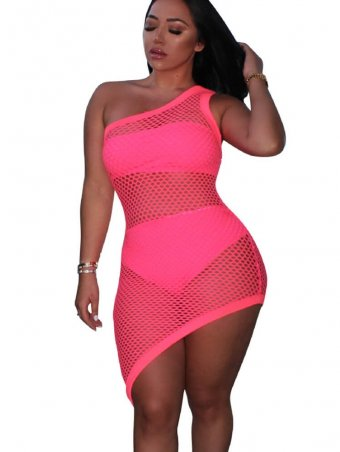 JurllyShe One Shoulder Hollow Out Fishnet Three Pieces Dress