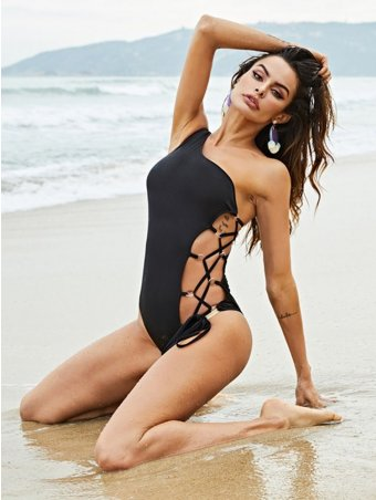 JurllyShe One Shoulder Side Lace Up One-Piece Swimsuit