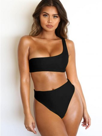 JurllyShe One Shoulder Top With Panty Bikini Set