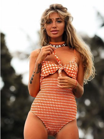 JurllyShe Plaid Bow Tie Cut-Out One Piece Swimsuit