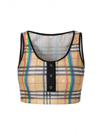 JurllyShe Plaid Print Vest Crop Top