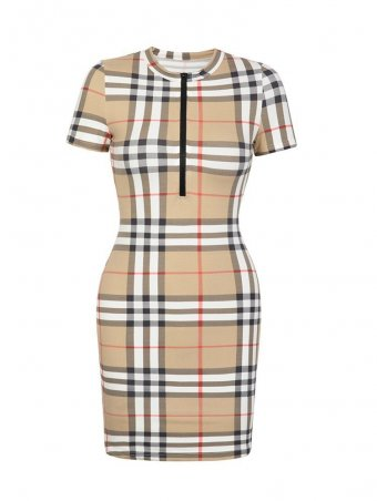 JurllyShe Plaid Zipper Front Bodycon Dress