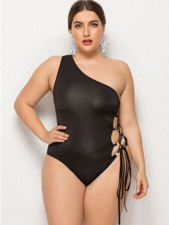 JurllyShe Plus Size One Shoulder Side Lace Up One-Piece Swimsuit