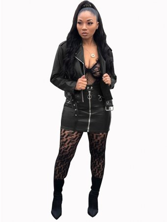 JurllyShe PU Leather Jacket Top and Bodycon Mini Skirt Suit