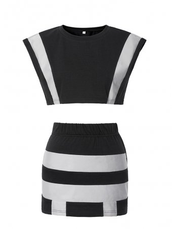 JurllyShe Reflective Strips Crop Top And Bodycon Skirt Suit