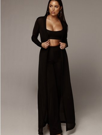 JurllyShe Rib Knit Cami Top And Belted Waist Pants Set With Long Coat