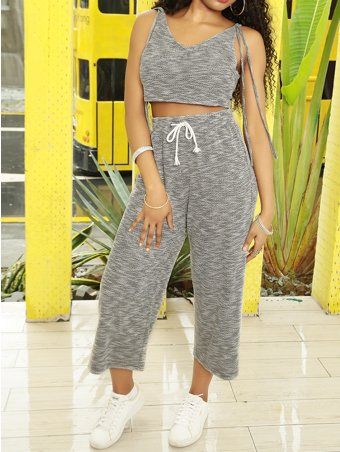 JurllyShe Ribbons Decorated V-neck Top With Wide-leg Pants Set