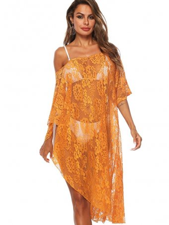 JurllyShe See Through Drop Shoulder Asymmetric Crochet Cover Up Dress
