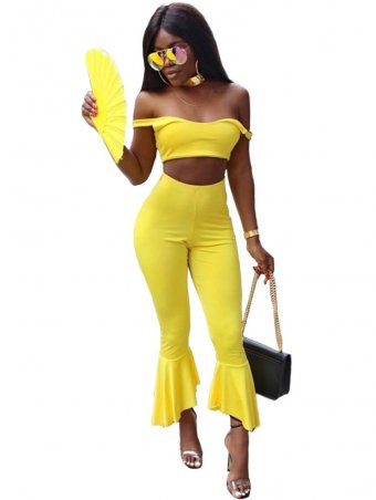 JurllyShe Short Cami Top With Flared Leg Pants Two Piece Sets