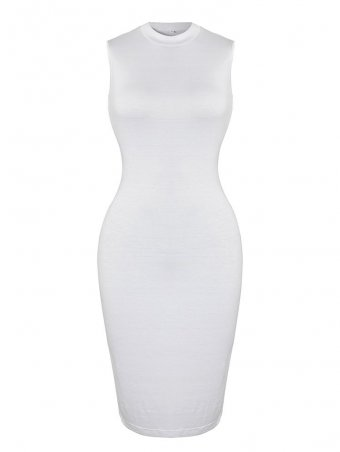JurllyShe Sleeveless High Neck Elastic Bodycon Dress