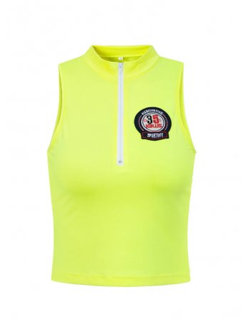 JurllyShe Stand Collar Sleeveless Crop Top With Iron On Patches