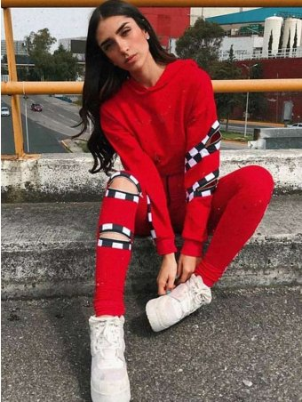 JurllyShe Zippers Detailed Short Hoodie With Drawstring Pants Two Piece Sets