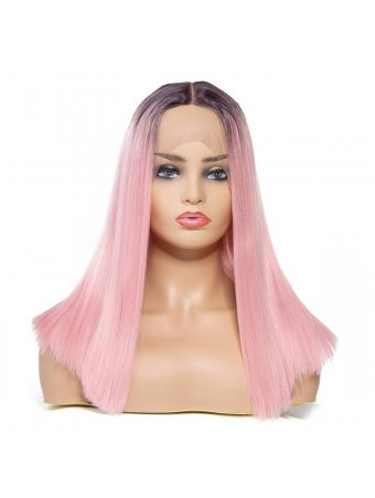 AfricanMall Ombre Pink Center Parting Straight Lace Front Synthetic Wig