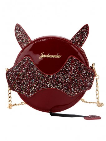 Round Sequin Devil Wings Chain Crossbody Bag