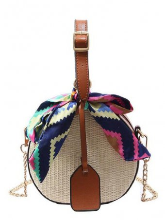 Round Shaped Scraf Decorated Woven Straw Crossbody Bag