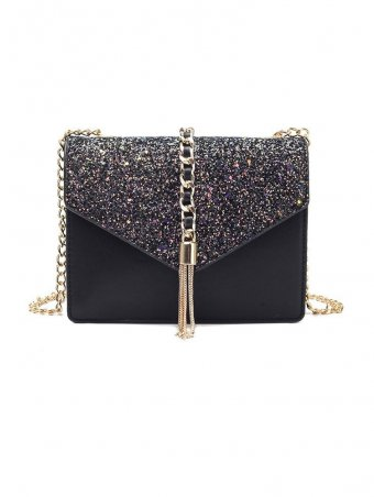 Sequins & Tassel Detail Crossbody  Envelope bag