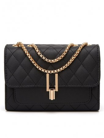 Simple Turn lock Detail Chain Quilted Shoulder Bag