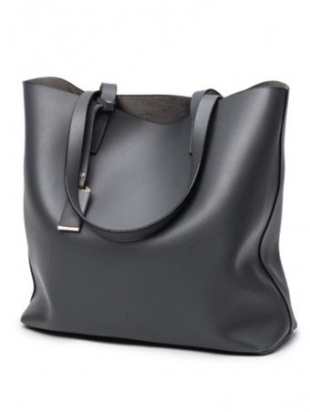 Solid Large Capacity PU Leather Tote Bag