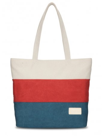 Striped Print Canvas Shoulder Tote Bags