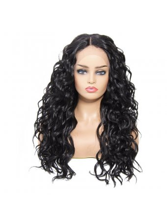 AfricanMall Center Parting Body Wave Synthetic Lace Front Wig