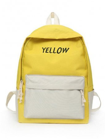 Two Tone Letter Print Detail Backpack