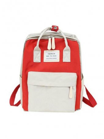 Two Tone Slogan Patch & Pocket Front Detail Laptop Backpack