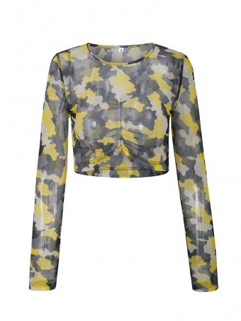 JurllyShe Camouflage Mesh Front Pleated Crop Top